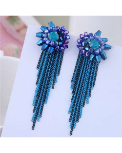 Crystal Flower Design Long Tassel Fashion Women Statement Earrings - Blue