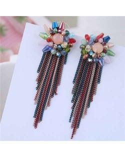 Crystal Flower Design Long Tassel Fashion Women Statement Earrings - Multicolor