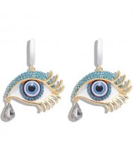 Peacock Eyes Design High Fashion Women Statement Earrings - Blue