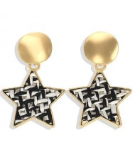 High Fashion Dangling Pentagram Design Women Costume Earrings - Black and White