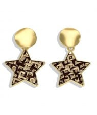 High Fashion Dangling Pentagram Design Women Costume Earrings - Yellow and Black