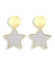 High Fashion Dangling Pentagram Design Women Costume Earrings - Silvery White