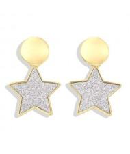 High Fashion Dangling Pentagram Design Women Costume Earrings - Silvery White