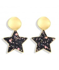 High Fashion Dangling Pentagram Design Women Costume Earrings - Black