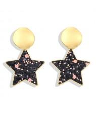 High Fashion Dangling Pentagram Design Women Costume Earrings - Black
