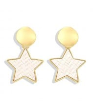 High Fashion Dangling Pentagram Design Women Costume Earrings - White