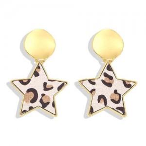 High Fashion Dangling Pentagram Design Women Costume Earrings - Leopard Prints