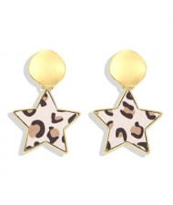 High Fashion Dangling Pentagram Design Women Costume Earrings - Leopard Prints