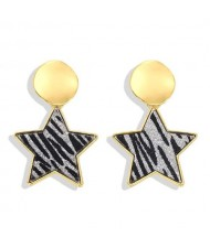 High Fashion Dangling Pentagram Design Women Costume Earrings - Black and Gray