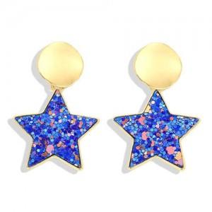 High Fashion Dangling Pentagram Design Women Costume Earrings - Blue