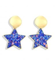 High Fashion Dangling Pentagram Design Women Costume Earrings - Blue