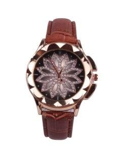 Vintage Hollow Design Floral Index Women Fashion Wrist Watch - Coffee
