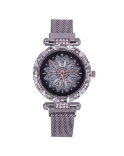 Lucky Lotus Design Shining Index Women Fashion Wrist Watch - Silver