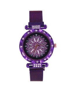 Lucky Lotus Design Shining Index Women Fashion Wrist Watch - Purple