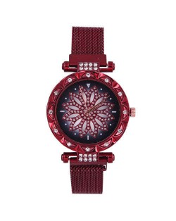 Lucky Lotus Design Shining Index Women Fashion Wrist Watch - Red