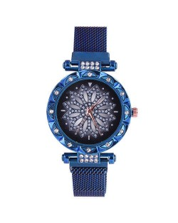 Lucky Lotus Design Shining Index Women Fashion Wrist Watch - Blue
