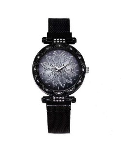Lucky Lotus Design Shining Index Women Fashion Wrist Watch - Black