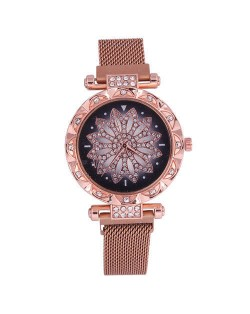 Lucky Lotus Design Shining Index Women Fashion Wrist Watch - Rose Gold