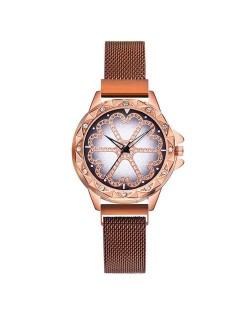 Rhinestone Embellished Floral Pattern Concise Index Women Fashion Wrist Watch - Rose Gold