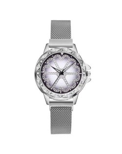 Rhinestone Embellished Floral Pattern Concise Index Women Fashion Wrist Watch - Silver