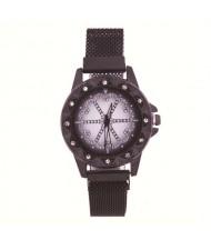 Rhinestone Embellished Floral Pattern Concise Index Women Fashion Wrist Watch - Black