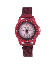 Rhinestone Embellished Floral Pattern Concise Index Women Fashion Wrist Watch - Red