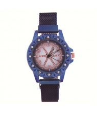 Rhinestone Embellished Floral Pattern Concise Index Women Fashion Wrist Watch - Blue
