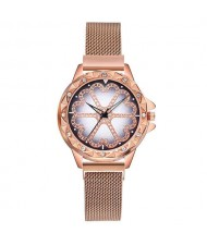 Rhinestone Embellished Floral Pattern Concise Index Women Fashion Wrist Watch - Golden