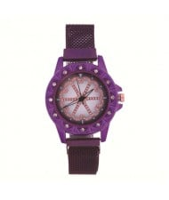 Rhinestone Embellished Floral Pattern Concise Index Women Fashion Wrist Watch - Purple
