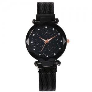 Shining Starry Index Design Women High Fashion Wrist Watch - Black