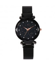 Shining Starry Index Design Women High Fashion Wrist Watch - Black