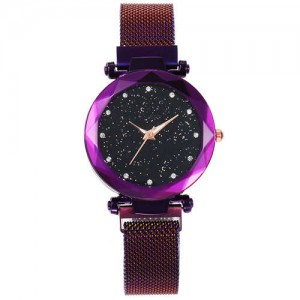 Shining Starry Index Design Women High Fashion Wrist Watch - Purple