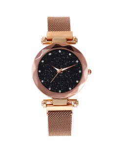 Shining Starry Index Design Women High Fashion Wrist Watch - Rose Gold