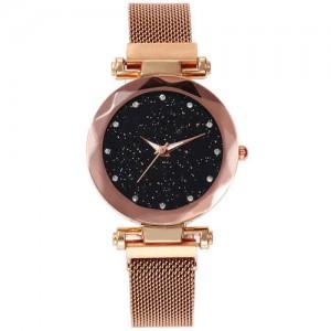 Shining Starry Index Design Women High Fashion Wrist Watch - Rose Gold
