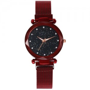 Shining Starry Index Design Women High Fashion Wrist Watch - Red