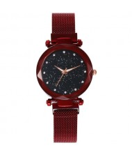 Shining Starry Index Design Women High Fashion Wrist Watch - Red