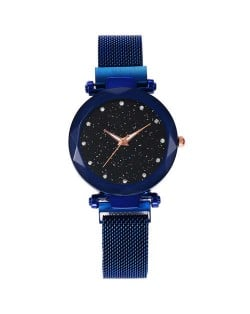 Shining Starry Index Design Women High Fashion Wrist Watch - Blue