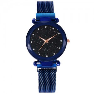 Shining Starry Index Design Women High Fashion Wrist Watch - Blue