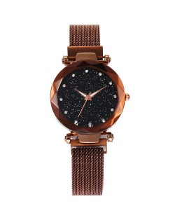 Shining Starry Index Design Women High Fashion Wrist Watch - Golden Coffee