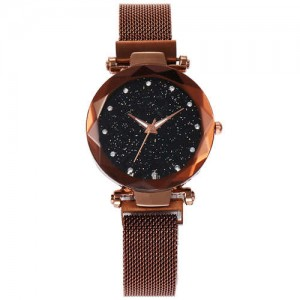 Shining Starry Index Design Women High Fashion Wrist Watch - Golden Coffee