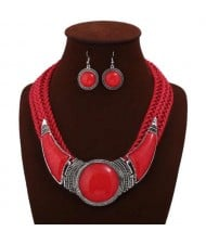 Acrylic Gems Inlaid Weaving Rope Design Women High Fashion Necklace and Earrings Set - Red