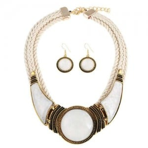 Acrylic Gems Inlaid Weaving Rope Design Women High Fashion Necklace and Earrings Set - White