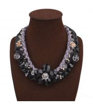 Crystal Flowers Decorated Rope and Leather Weaving Fashion Women Necklace - Black