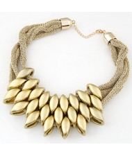 Acrylic Beads Decorated Multi-layer Golden Chain Bold Fashion Women Bib Necklace and Earrings Set