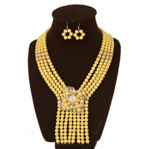 Yellow Beads Scarf Shape Design Women Bib Necklace and Earrings Set