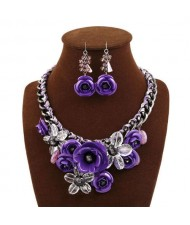 Gorgeous Flowers Cluster Bold Alloy Chain and Weaving Design Women Bib Necklace and Earrings Set - Purple