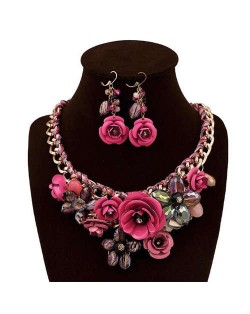 Gorgeous Flowers Cluster Bold Alloy Chain and Weaving Design Women Bib Necklace and Earrings Set - Rose