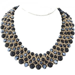 Artificial Pearl and Crystal Beads Four Rows Weaving Pattern Design Women Costume Necklace - Black