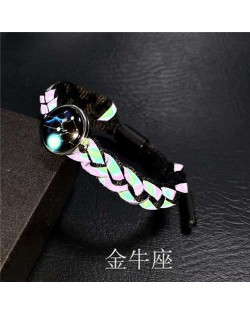Constellation Pop Fashion Weaving Rope Luminous Bracelet - Taurus