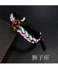 Constellation Pop Fashion Weaving Rope Luminous Bracelet - Leo
